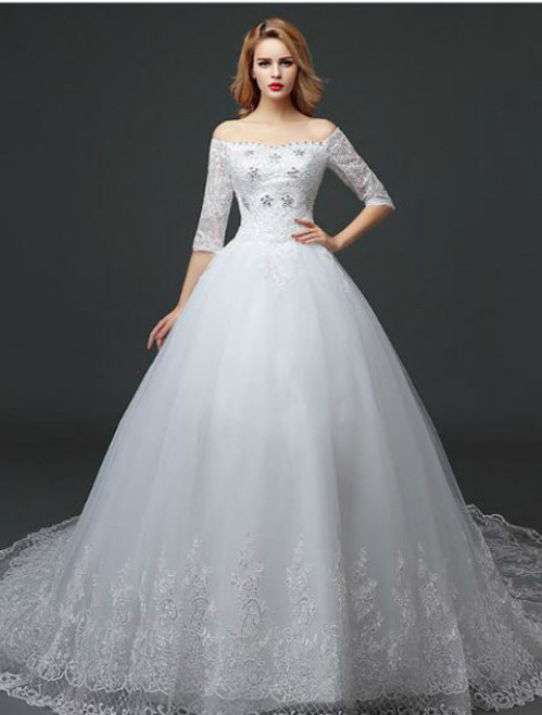 In Stock:Ship in 48 hours Ball Gown Half Sleeve Wedding Dress