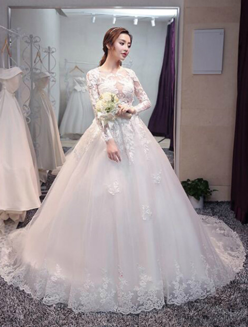 In Stock:Ship in 48 hours Long Sleeve Tulle Lace Wedding Dress