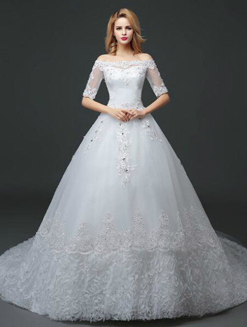 In Stock:Ship in 48 hours Short Sleeve Tulle Wedding Dress