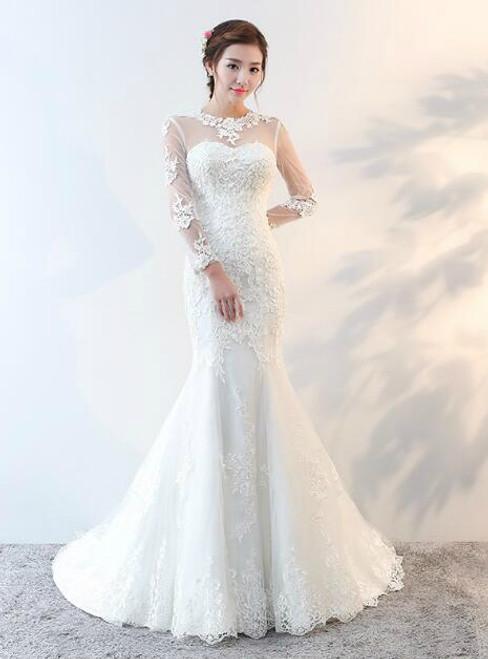 In Stock:Ship in 48 hours Mermaid Long Sleeve Wedding Dress