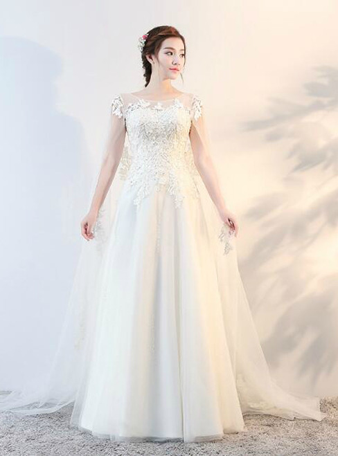 In Stock:Ship in 48 hours A-Line Lace Wedding Dress