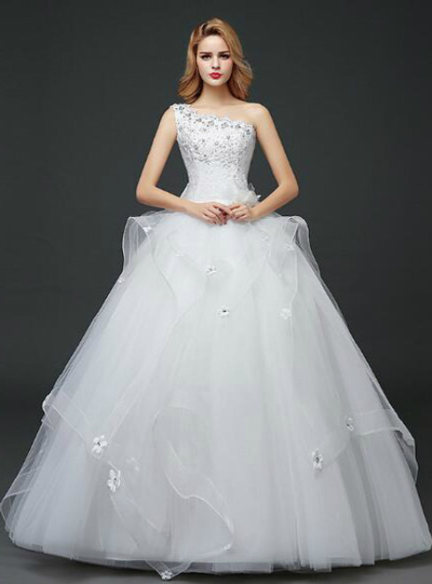 In Stock:Ship in 48 hours Ball Gown One Shoulder Wedding Dress