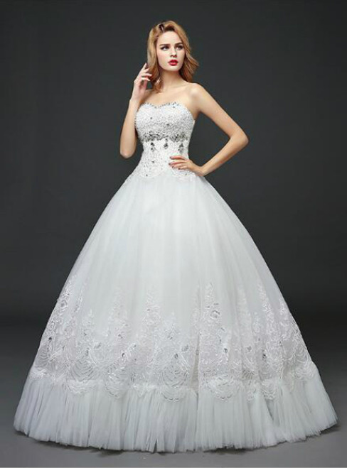 In Stock:Ship in 48 hours Sweetheart Tulle White Wedding Dress