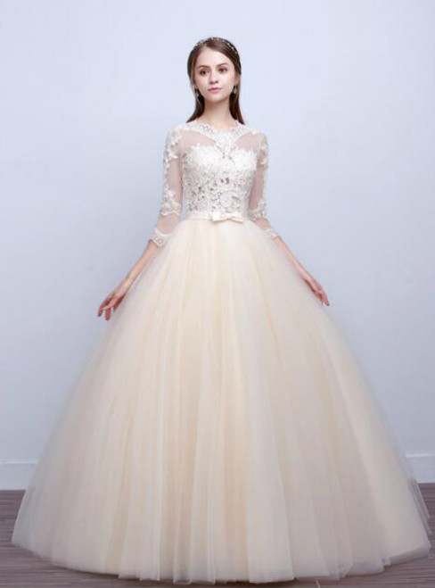In Stock:Ship in 48 hours Long Sleeve Yellow Wedding Dress