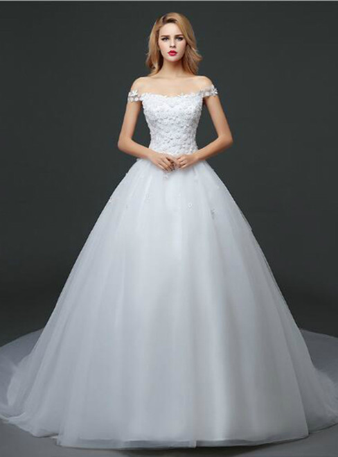 In Stock:Ship in 48 hours Off The Shoulder Wedding Dress