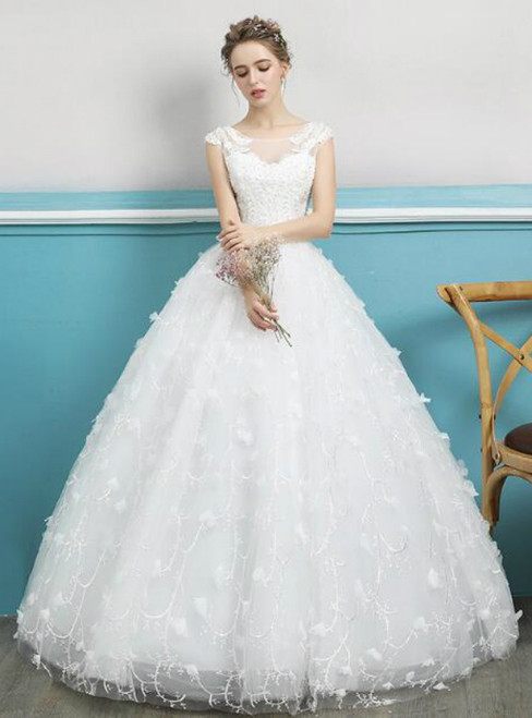In Stock:Ship in 48 hours Ball Gown Lace Appliques Wedding Dress