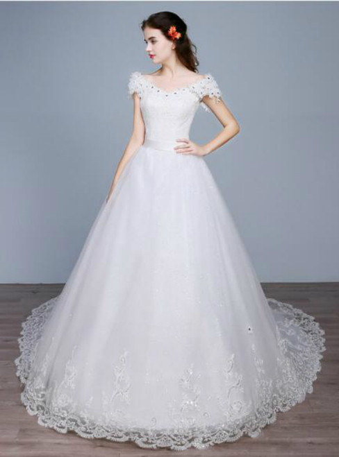 In Stock:Ship in 48 hours Off The Shoulder White Wedding Dress