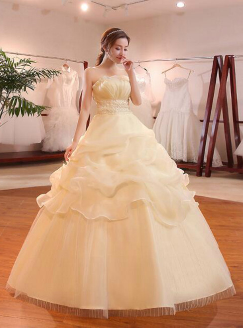 In Stock:Ship in 48 hours Strapless Yellow Wedding Dress