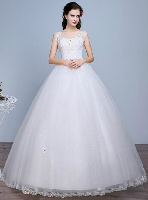 In Stock:Ship in 48 hours V-neck Wedding Dress