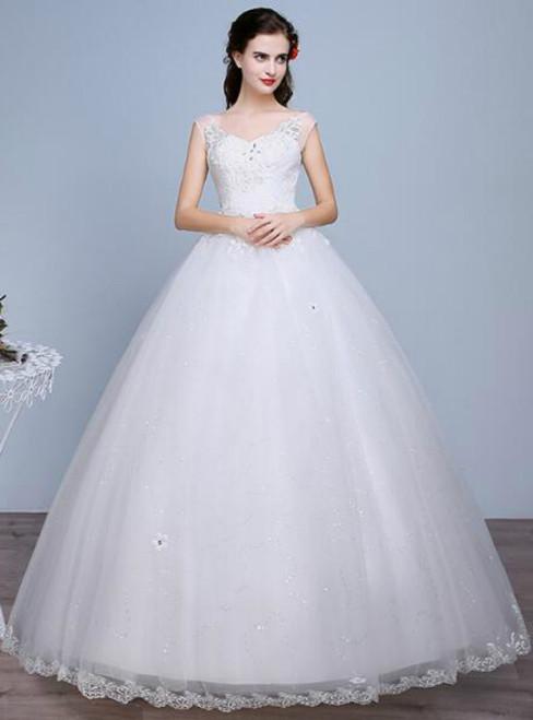 In Stock:Ship in 48 hours V-neck Wedding Dress