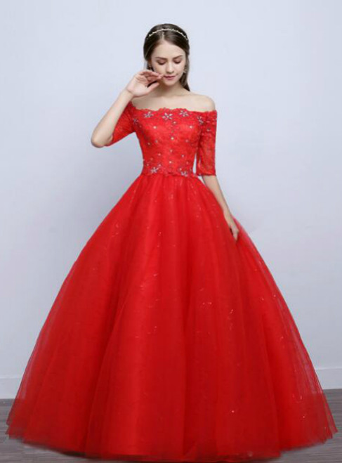 In Stock:Ship in 48 hours Red Short Sleeve Wedding Dress