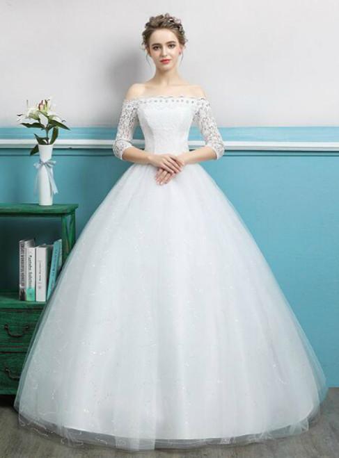 In Stock:Ship in 48 hours Short Sleeve White Wedding Dress