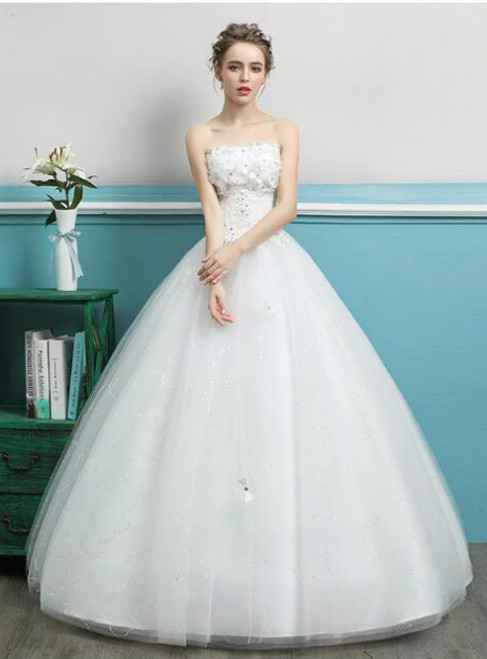 In Stock:Ship in 48 hours Ball gown Strapless Wedding Dress