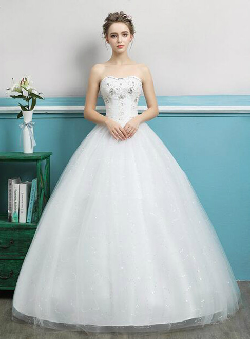 In Stock:Ship in 48 hours Sweetheart White Wedding Dress
