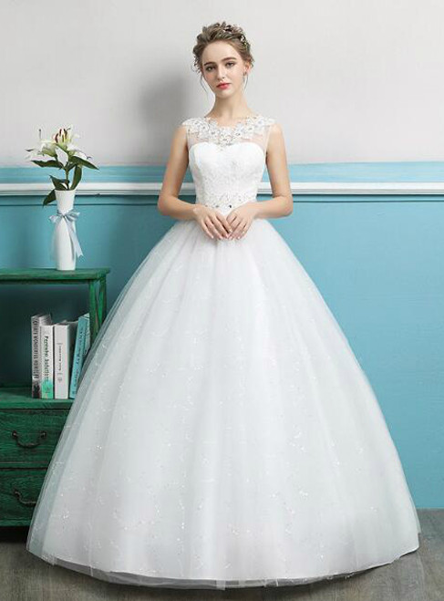 In Stock:Ship in 48 hours White Tulle Wedding Dress