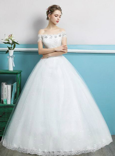 In Stock:Ship in 48 hours Off The Shoulder Tulle Wedding Dress