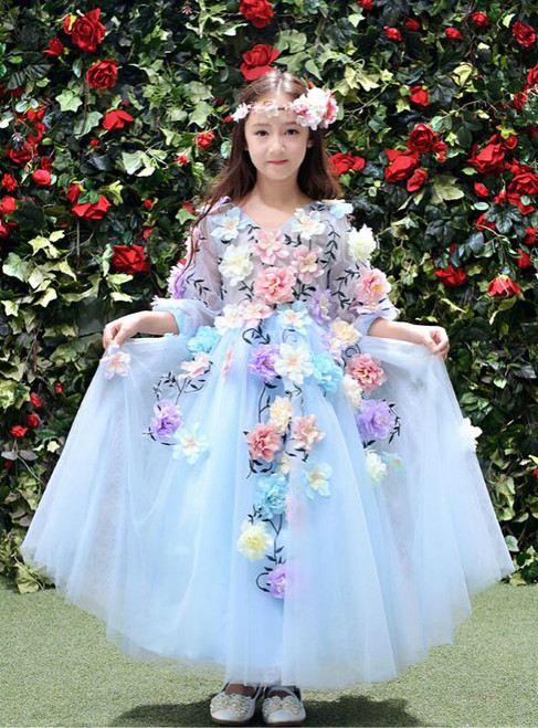 In Stock:Ship in 48 hours Ball Gown Half Sleeve Blue Girl Dress