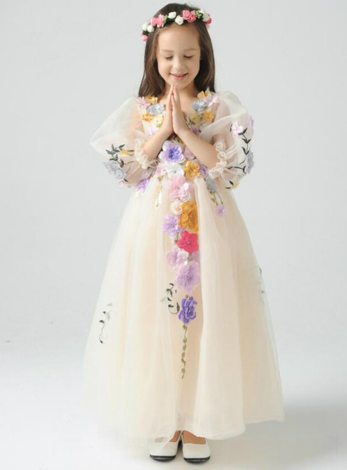 In Stock:Ship in 48 hours Long Sleeve Yellow Flower Girl Dress