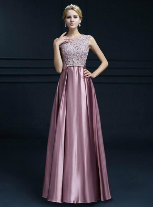 In Stock:Ship in 48 hours A-Line Satin Lace Prom Dress