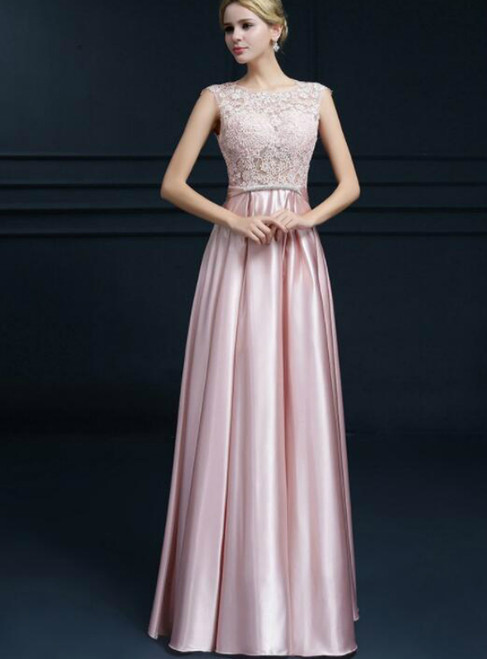 In Stock:Ship in 48 hours A-Line Pink Satin Lace Prom Dress