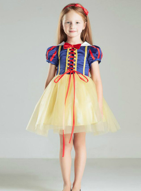 In Stock:Ship in 48 hours Blue Yellow Flower Girl Dress