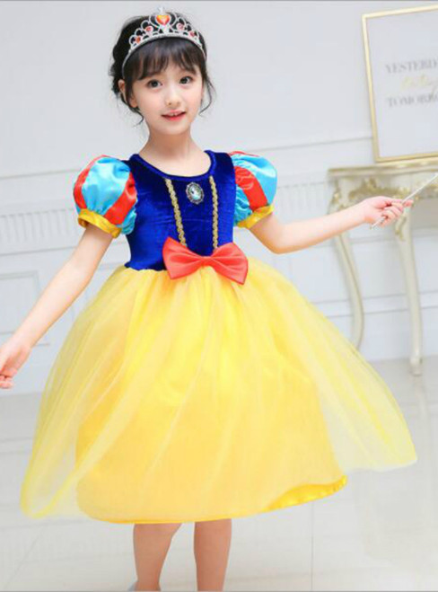 In Stock:Ship in 48 hours Yellow Short Sleeve Girl Dress