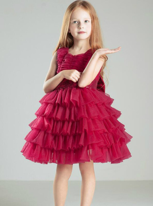 In Stock:Ship in 48 hours Red Tulle Flower Girl Dress