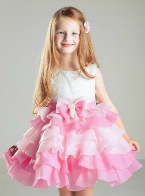 In Stock:Ship in 48 hours Pink Flower Girl Dress
