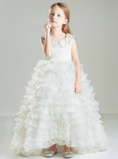 In Stock:Ship in 48 hours White Organza Ruffle Girl Dress