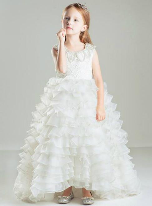 In Stock:Ship in 48 hours White Organza Ruffle Girl Dress