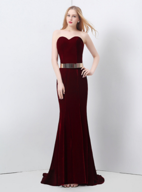 In Stock:Ship in 48 hours Sweetheart Burgundy Prom Dress