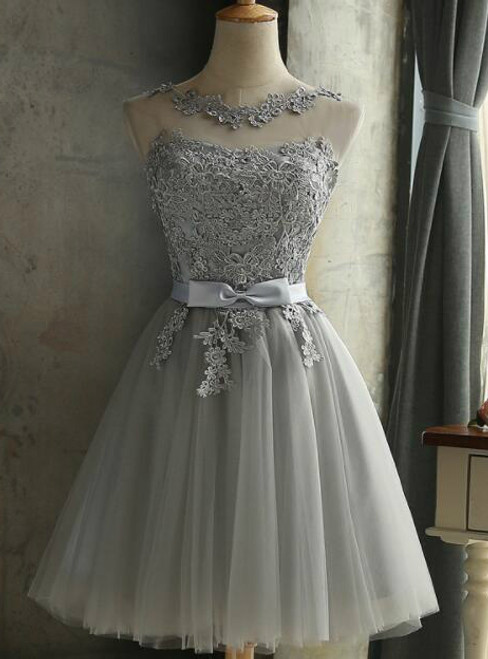 In Stock:Ship in 48 hours Gray Short Bridesmaid Dress