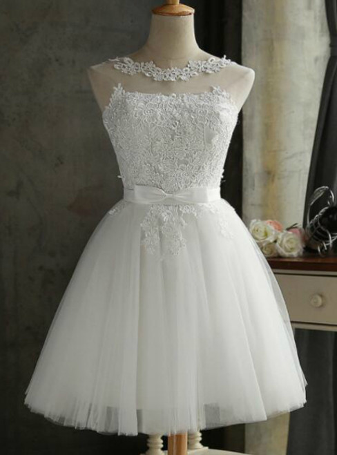 In Stock:Ship in 48 hours White Short Bridesmaid Dress