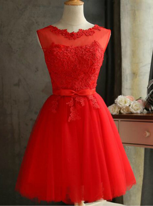 In Stock:Ship in 48 hours Red Short Bridesmaid Dress