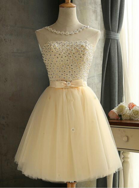 In Stock:Ship in 48 hours Yellow Beading Homecoming Dress