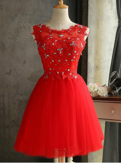 In Stock:Ship in 48 hours Red Tulle Appliques Homecoming Dress