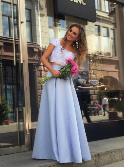 Lace Top Floor Length Prom Dress,Long Prom Dress