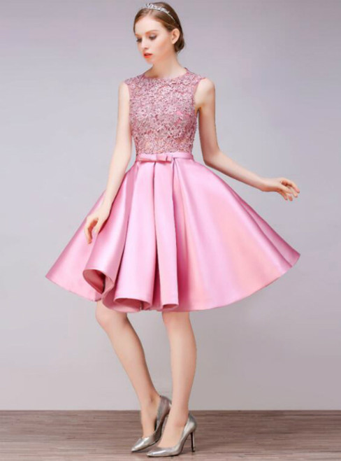 In Stock:Ship in 48 hours Pink Satin Homecoming Dress