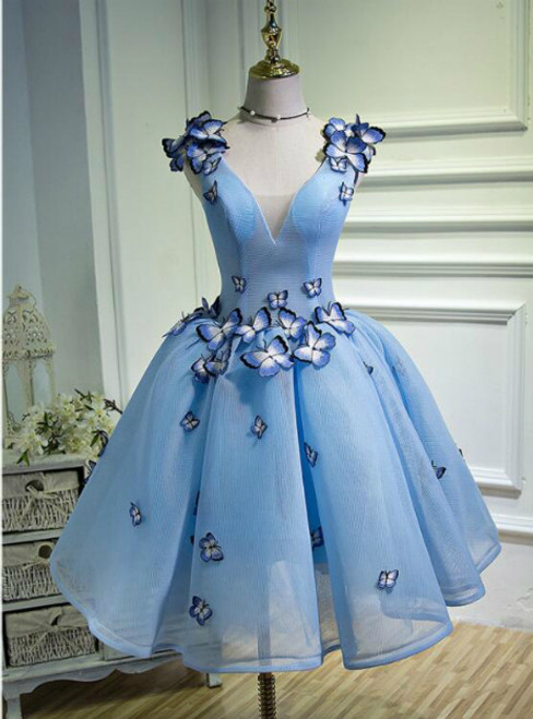 In Stock:Ship in 48 hours V-neck Organza Homecoming Dress