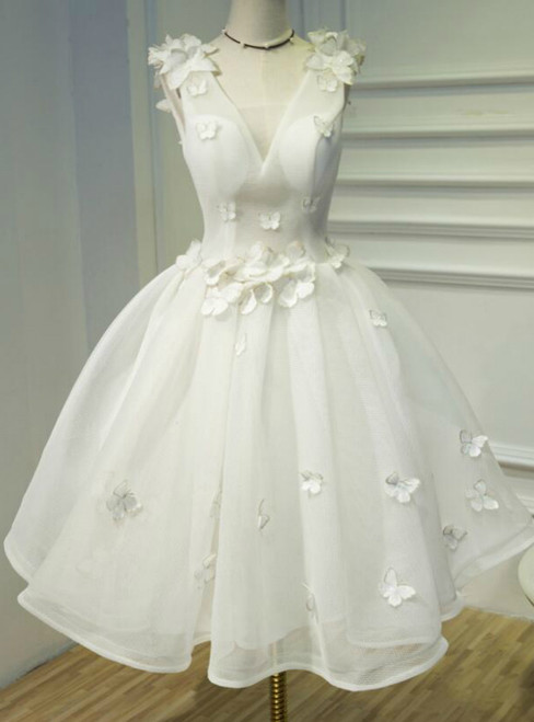 In Stock:Ship in 48 hours White V-neck Organza Homecoming Dress