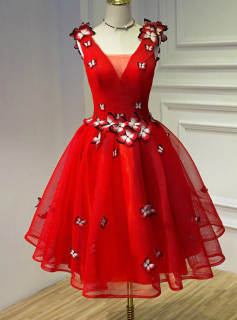 In Stock:Ship in 48 hours Red V-neck Organza Homecoming Dress