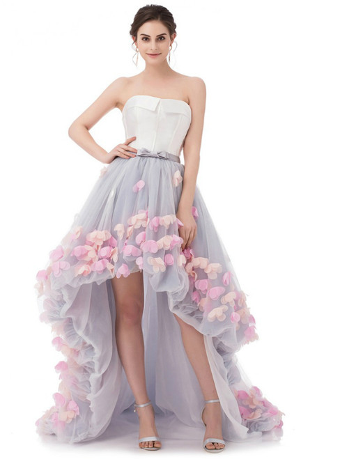 In Stock:Ship in 48 hours Hi Lo Strapless Tulle Prom Dress