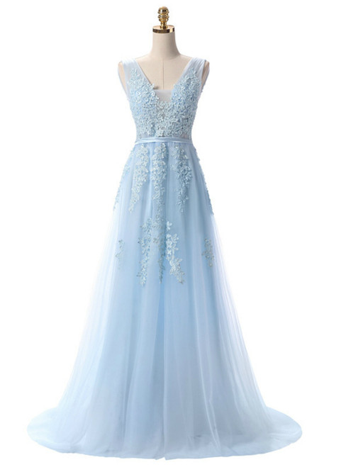 In Stock:Ship in 48 hours Light Blue Lace Beading Backless Prom Dress