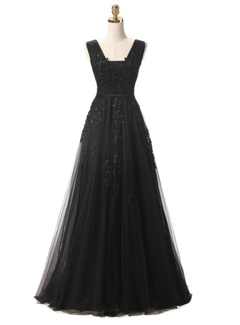 In Stock:Ship in 48 hours Black Lace Beading Backless Prom Dress