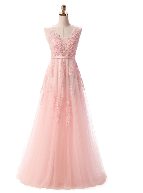 In Stock:Ship in 48 hours Pearl Pink Lace Backless Prom Dress