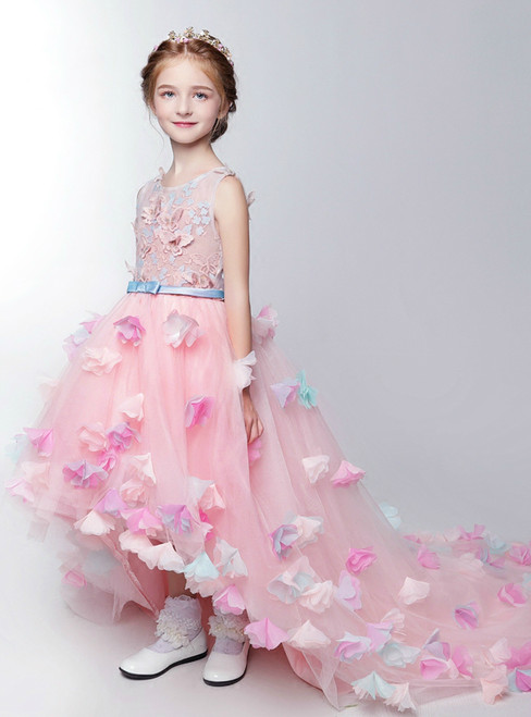 Flower Girl Dresses for Wedding Sweet Pink Lace Butterfly with Appliques