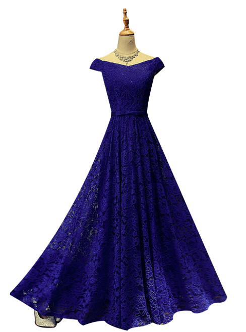 In Stock:Ship in 48 hours Bride Long Lace Evening Dress Floor-length