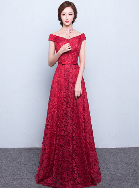 In Stock:Ship in 48 hours Red Long Lace Evening Dress Floor-length