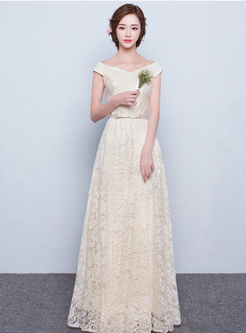 In Stock:Ship in 48 hours Beige Long Lace Evening Dress Floor-length