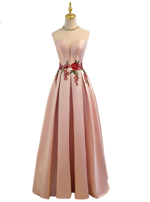 In Stock:Ship in 48 hours Pink Satin Lace Up Floor-length Slim Party